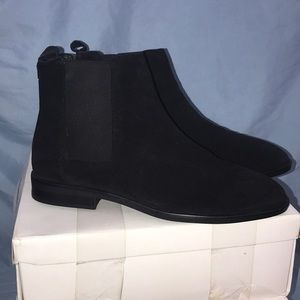 ASOS Black suede ankle boots with stretchy sides